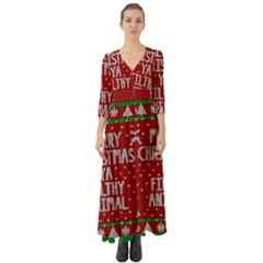 Ugly Christmas Sweater Button Up Boho Maxi Dress