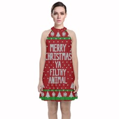 Ugly Christmas Sweater Velvet Halter Neckline Dress