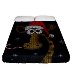 Christmas Giraffe  Fitted Sheet (california King Size)