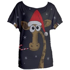 Christmas Giraffe  Women s Oversized Tee