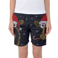Christmas Giraffe  Women s Basketball Shorts