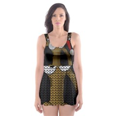 Christmas Giraffe  Skater Dress Swimsuit