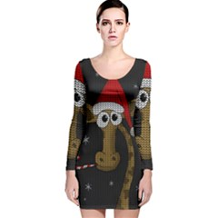 Christmas Giraffe  Long Sleeve Velvet Bodycon Dress