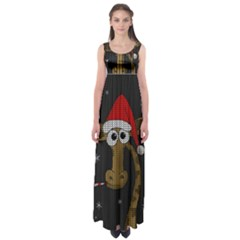 Christmas Giraffe  Empire Waist Maxi Dress