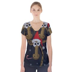 Christmas Giraffe  Short Sleeve Front Detail Top