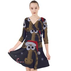 Christmas Giraffe  Quarter Sleeve Front Wrap Dress