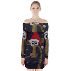 Christmas Giraffe  Long Sleeve Off Shoulder Dress
