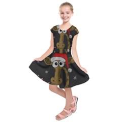 Christmas Giraffe  Kids  Short Sleeve Dress