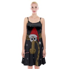 Christmas Giraffe  Spaghetti Strap Velvet Dress