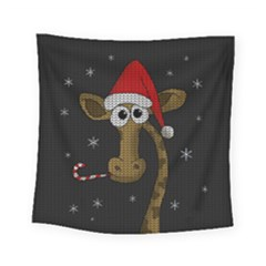 Christmas Giraffe  Square Tapestry (small)