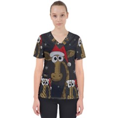 Christmas Giraffe  Scrub Top
