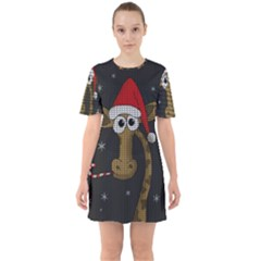 Christmas Giraffe  Sixties Short Sleeve Mini Dress