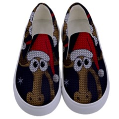 Christmas Giraffe  Kids  Canvas Slip Ons