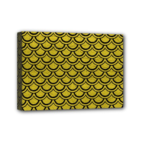 Scales2 Black Marble & Yellow Leather Mini Canvas 7  X 5