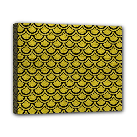 Scales2 Black Marble & Yellow Leather Canvas 10  X 8