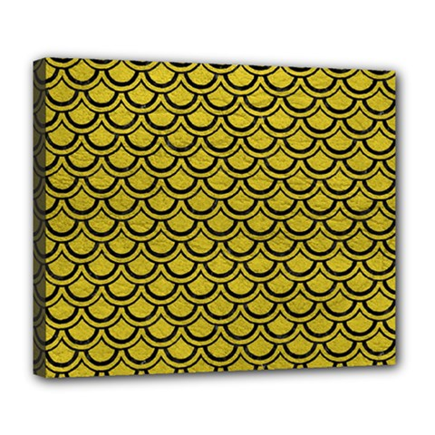 Scales2 Black Marble & Yellow Leather Deluxe Canvas 24  X 20