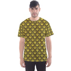 Scales2 Black Marble & Yellow Leather Men s Sports Mesh Tee