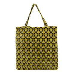 Scales2 Black Marble & Yellow Leather Grocery Tote Bag