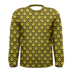 Scales2 Black Marble & Yellow Leather Men s Long Sleeve Tee
