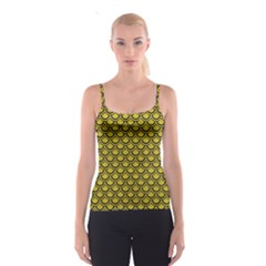 Scales2 Black Marble & Yellow Leather Spaghetti Strap Top