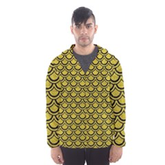 Scales2 Black Marble & Yellow Leather Hooded Wind Breaker (men)