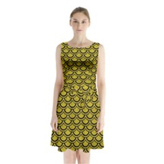 Scales2 Black Marble & Yellow Leather Sleeveless Waist Tie Chiffon Dress