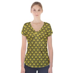 Scales2 Black Marble & Yellow Leather Short Sleeve Front Detail Top