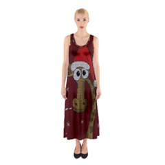 Christmas Giraffe  Sleeveless Maxi Dress