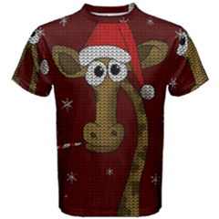 Christmas Giraffe  Men s Cotton Tee