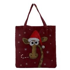 Christmas Giraffe  Grocery Tote Bag