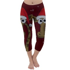 Christmas Giraffe  Capri Winter Leggings