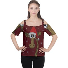 Christmas Giraffe  Cutout Shoulder Tee