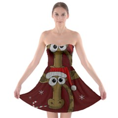 Christmas Giraffe  Strapless Bra Top Dress