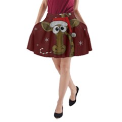 Christmas Giraffe  A Line Pocket Skirt