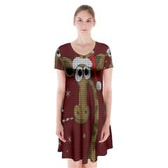 Christmas Giraffe  Short Sleeve V Neck Flare Dress