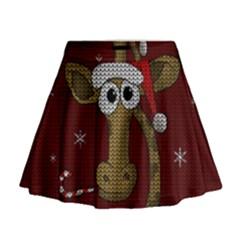Christmas Giraffe  Mini Flare Skirt