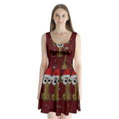 Christmas Giraffe  Split Back Mini Dress