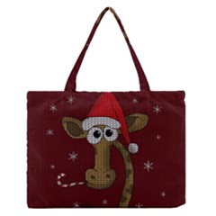 Christmas Giraffe  Zipper Medium Tote Bag