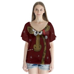 Christmas Giraffe  V Neck Flutter Sleeve Top