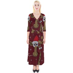 Christmas Giraffe  Quarter Sleeve Wrap Maxi Dress