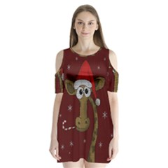 Christmas Giraffe  Shoulder Cutout Velvet One Piece