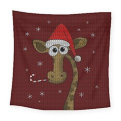 Christmas Giraffe  Square Tapestry (large)