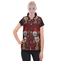 Christmas Giraffe  Women s Button Up Puffer Vest
