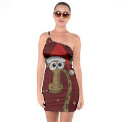 Christmas Giraffe  One Soulder Bodycon Dress
