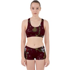 Christmas Giraffe  Work It Out Sports Bra Set