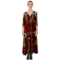 Christmas Giraffe  Button Up Boho Maxi Dress