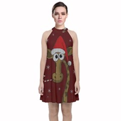 Christmas Giraffe  Velvet Halter Neckline Dress