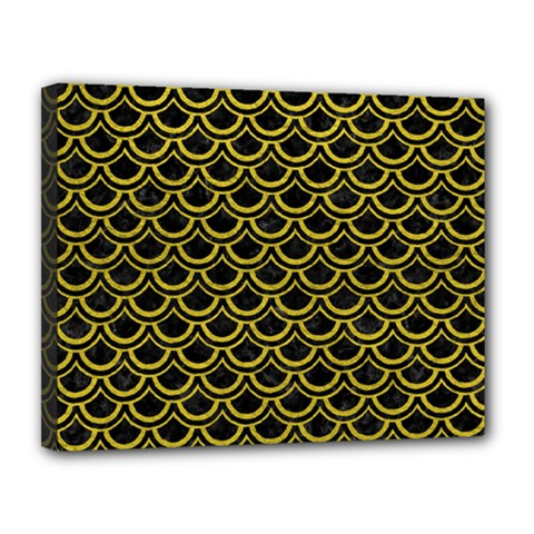 Scales2 Black Marble & Yellow Leather (r) Canvas 14  X 11