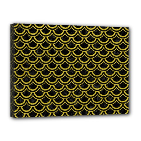 Scales2 Black Marble & Yellow Leather (r) Canvas 16  X 12