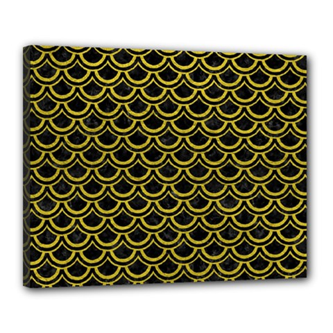 Scales2 Black Marble & Yellow Leather (r) Canvas 20  X 16